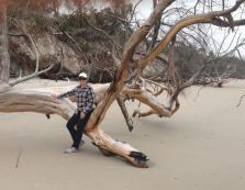 Showing size of driftwood!