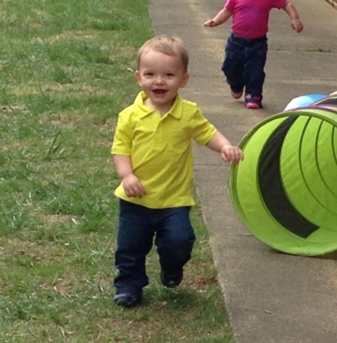 Running to his grandma!