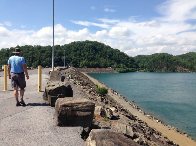 Walking on the dam. This side views the South Holston Lake and the other side, we look to the Island and can see where we sat.