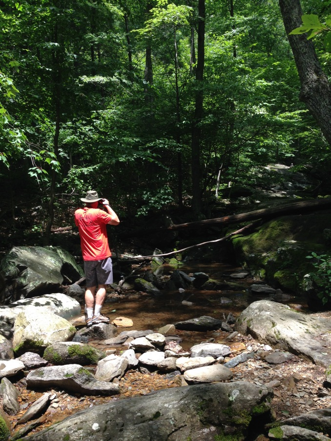"Bill taking a picture of the 30"" falls"