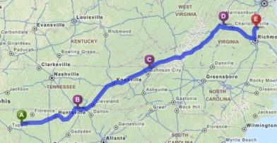 From Red Bay, AL, to Jasper and Bristol, TN, to Waynesboro, and finally Fredericksburg, VA
