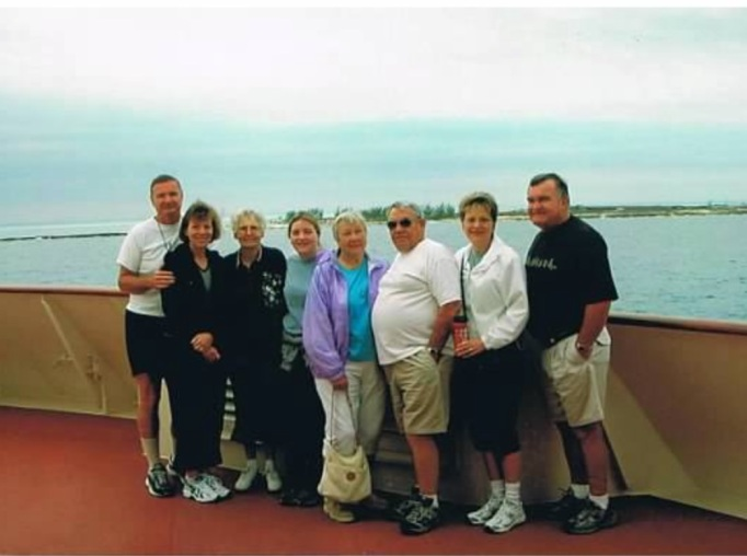 From left Bill, me, Bill's mom, Jessica, my mom, my step dad, my sister and her husband.