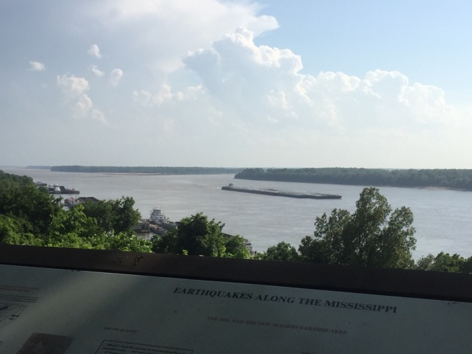 As you walk up and around the museum, you can the view of the Mississippi River.