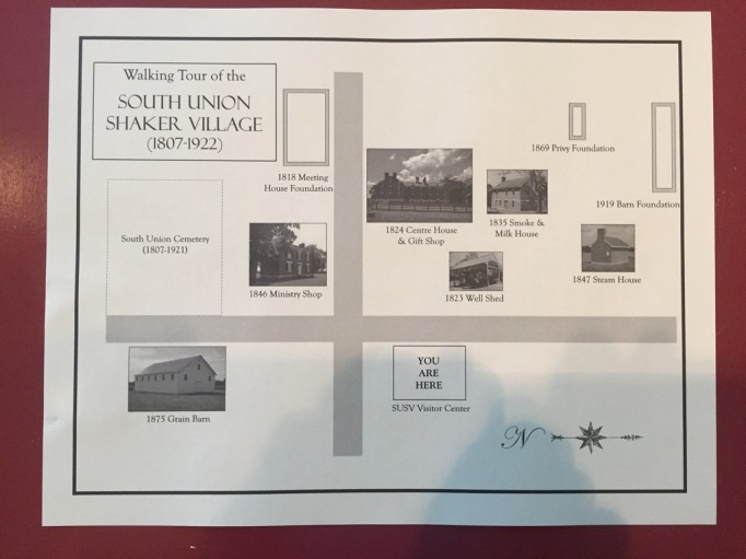South Union Shaker Village map for self guided tour of the grounds.