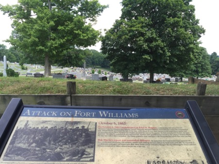 Placard about the battle with note about General Williams tombstone being 700 yards down from this marker.