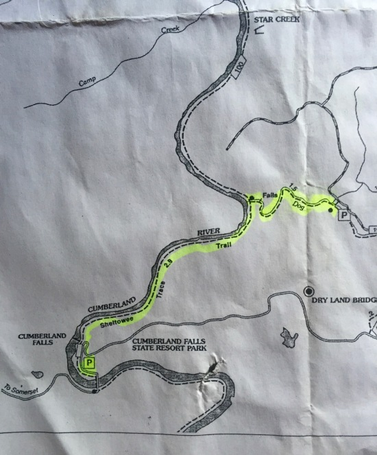 We even highlighted the route, which went to Dog Slaughter Falls.