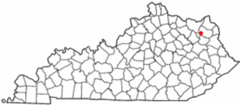 The red dot is Olive Hill, Kentucky, our last stop.