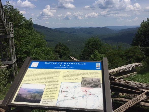 On top of this mountain, is a Civil War Marker highlighting the Battle of Wytheville.