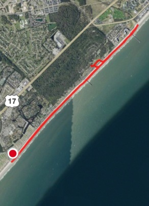 This is a screen shot of our five mile walk, 2 1/2 out and back. It's not the best picture, but the best I could get. If you look closely, you will see two piers: Myrtle Beach State Park is first, then the Springmaid Pier is near the end of our walk.