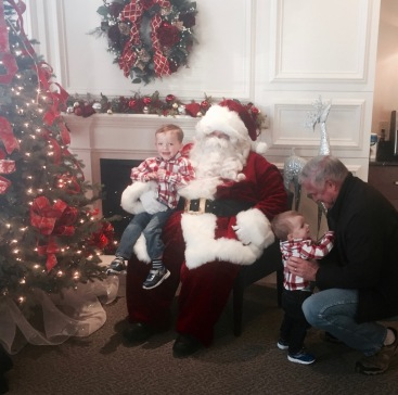 Colin took to Santa right away. Bryce wasn't too impressed, initially!