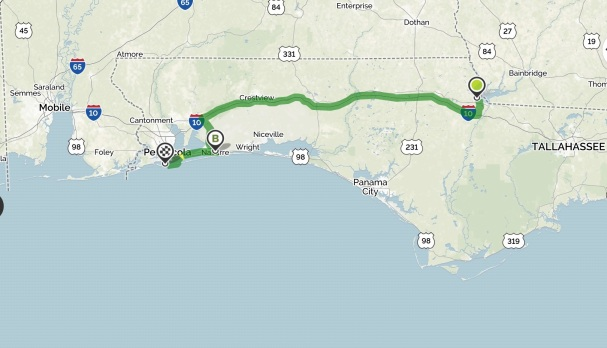 Our travel from Three Rivers State Park, to Emerald Beach, to Fort Pickens.