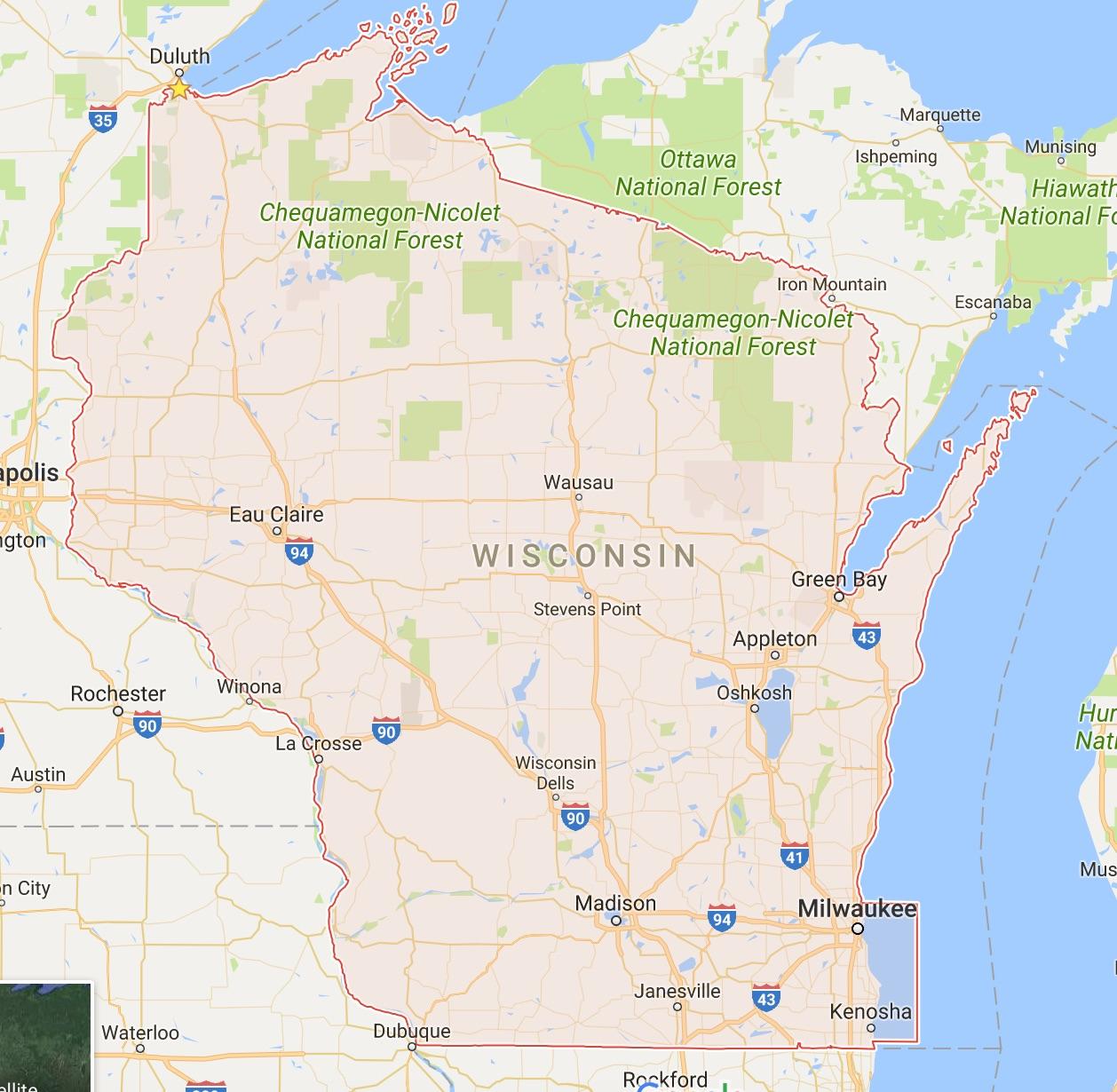Wisconsin Google Map | Follow the Tumble Lees!