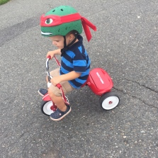 And then our second one came along. Here he is at age 2 learning to peddle a trike!