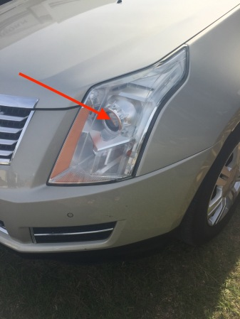 "Photos shows headlight ""kit"" while arrow points to the ""projector"""
