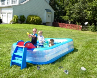 It was a pool party, playing with their cousin, a year older than Colin.