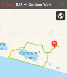 We wanted to see it all, so here is our route from our campsite, to the beach and then around the lake and on the nature trails.