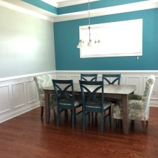 Our dining room completed. You may notice Bill painted the accent wall color in the tray ceiling. It's also in our bedroom and the entrance way. We plan to add something to the wall and something on our table.