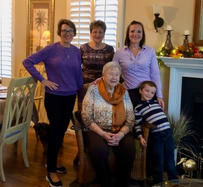 We wanted a picture of mom with just the girls, me, Marsha and Jessica. But my youngest grandson photobombed us!